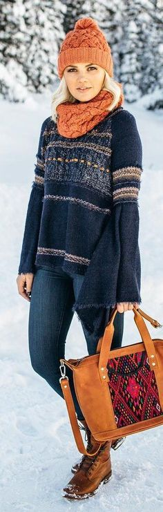 #winter #fashion / Orange Beanie / Orange Scarf / Navy Printed Knit / Navy Skinny Jeans / Orange Tote Bag / Brown Leather Boots