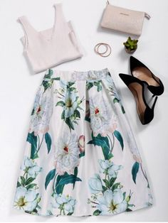 $22.19 | Floral Print High Waist A Line Skirt | Psychedelic Monk