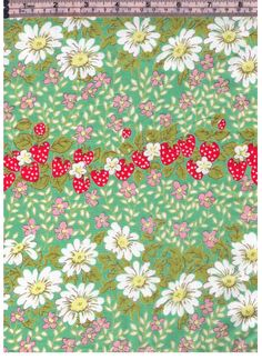 HALF YARD Yuwa - Rows on Strawberries and Daisies on GREEN - Colorway E - Flowers, Daisy, Strawberry - Cotton Lawn - Japanese Import Fabric by fabricsupply on Etsy