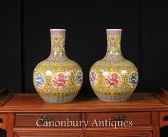 - Gorgeous pair of Chinese Ming style porcelain vases of Shangping - or bulbous…