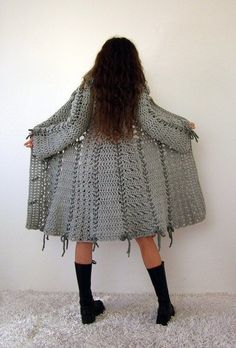 Candy crochet bow coat in grey with polymer clay buttons. This wonderful coat is made from quality Italian yarn wool 40 acrylic 15 alpaca). Size: womens (S) - ready for shipment S: length: shoulder: waist: sleeve: Model measurements: bust: Crochet Bows, Form Crochet, Crochet Woman, Crochet Clothes, Knit Crochet, Crochet Patterns, Crochet Mandala, Crochet Jacket, Crochet Cardigan