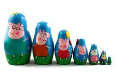 Künstlerpuppen - Matrjoschka Matröschka Babuschka Peppa Pig 7 stk - ein Designerstück von MHBY bei DaWanda