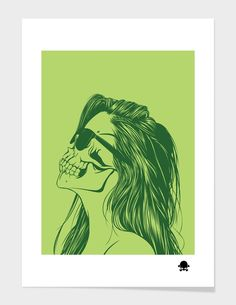 """Skull Girl 2"", Numbered Edition Fine Art Print by Gerrel Saunders - From $39.00 - Curioos"