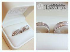 Argollas Matrimoniales en oro blanco 14K con diamantes naturales Diseño especial…