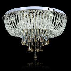 Spectacular Round Crystal Flush-Mount LED Ceiling Light Chandelier Pendant Lamp Flush Mount Lighting, Led Ceiling Lights, Chandelier Lighting, Pendant Lamp, Gardening, Crystals, Swag Light, Lawn And Garden, Hanging Pendants