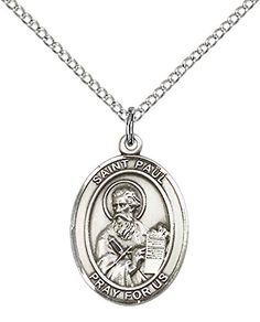 Sterling Silver St Jude Pendant with 20 Stainless Silver Heavy Curb Chain Patron Saint of Desperate Situations aBbEeGYJ4
