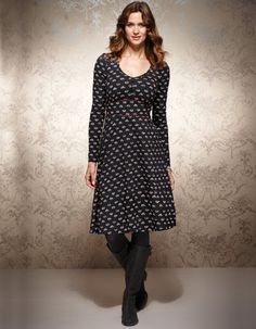 Floral Tea Dress in Grey Multi Print by Pepperberry - A best selling shape from last year updated with a new print, this is an easy-to-wear dress with button detailing on the bust. Looks great with tights and your favourite winter boots.