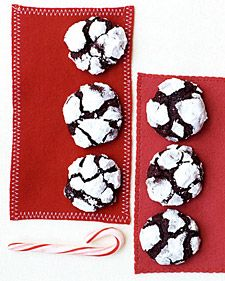 Chocolate-Espresso Snowcaps-Martha Stewart-These cookies look like little snow-covered mountains. Roll each ball in confectioners' sugar twice to make sure it's thoroughly coated and no dark dough is visible. Crinkle Cookies, Fun Cookies, Holiday Cookies, Holiday Treats, Christmas Treats, Snowball Cookies, Sugar Cookies, Delicious Cookies, Snow Cookies