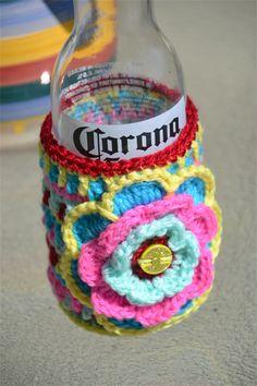Flower Power Crocheted Stubbie Cooler/Bottle Cosy/Koozie with flower