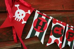 Swashbuckling Pirate Party banner in black by LittlePinkTractor, $32.50