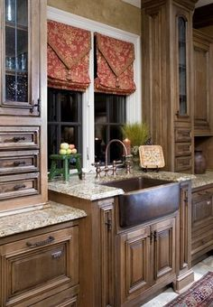 Tuscan Decor Guide: The Ultimate Tuscan Home Decorating Guide - http://bit.ly/1BL8480 Kitchen by Julie Davis Interiors- like these curtains: