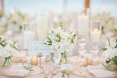 I LOVE THIS IDEA! Instead of table numbers, table NAMES! Names of things that are important to us :)))  Elegant White and Gold Reception Table Numbers