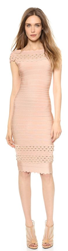 HERVE LEGER nude pink bandage dress found at Nudevotion.com