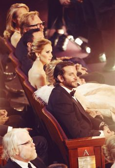 Love it. Bradley Cooper and Jennifer Lawrence at the 2013 Oscars (Silver Linings Playbook)
