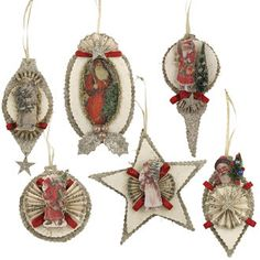 Vintage Die-Cut Santa Ornaments from The Holiday Barn