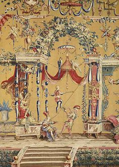 Detail of a tapestry with #grotesques #decor in the style of Le Berain. First half of the 18th century. Beauvais Manufactory. Louvre Museum, Paris #art #antique #museum #18thcentury #MarcMaison