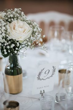 Simple ivory and gold decor | Read More: http://www.stylemepretty.com/little-black-book-blog/2014/06/30/authentic-andresy-france-wedding/ | Photography: Jean-Laurent Gaudy - www.jeanlaurentgaudy.com/en