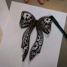 Lace Bow Tattoos, Band Tattoos, Lace Tattoo, Time Tattoos, Body Art Tattoos, Tattoo Drawings, Small Tattoos, Bow Tattoo Designs, Lace Drawing