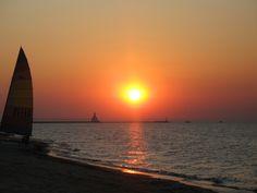 Sunset at Michigan City, Lake Michigan