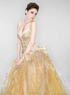 Gold vow renewal dress
