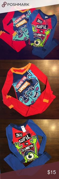 2- Boy's Disney Pixar Monsters University PJ Sets The Blue set and the Red set are a Boy's Size 8 however they fit more like a 5/6. Both sets are in great condition and were only worn twice! There are no tears, holes or stains on either set! Disney Pajamas Pajama Sets