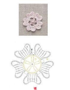 Motivo em Crochê flor cinco pétalas