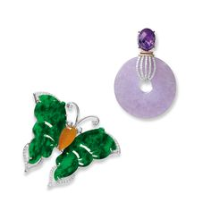 LAVENDER JADEITE 'HUAIGU', AMETHYST AND DIAMOND PENDANT; AND JADEITE, ORANGE JADEITE AND DIAMOND 'BUTTERFLY' BROOCH