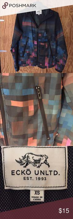 Ecko Unltd. Men's Jacket XS Ecko Unltd. Men's Lightweight Checkered Jacket. Mesh lining. Zip Front. Pockets. Hooded. Nice condition. No trades Ecko Unlimited Jackets & Coats