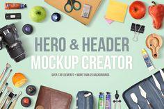 Check out Hero & Header Mockup Creator by AlienValley on Creative Market Scene Creator, The Creator, Web Design, Graphic Design, Graphic Art, Mockup Creator, Stickers Design, Table Design, Photo Equipment