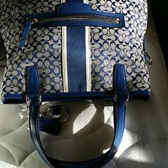 Seeking long Patent Blue Leather Strap Not for Sale Coach Bags Shoulder Bags