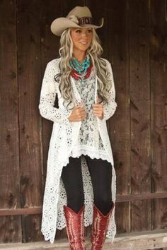 * New White Crochet Cardigan Duster * – Shop Southern Charm Cowgirl Style Outfits, Country Style Outfits, Country Fashion, Cowgirl Outfits, Western Outfits, Boho Fashion, Fashion Outfits, Cowgirl Dresses, Cowgirl Western Wear
