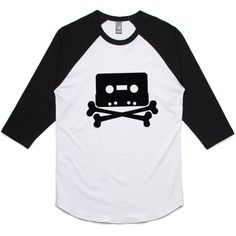 theIndie The Pirate Bay Tape n Crossbones (Black) 3/4-Sleeve Raglan Baseball T-Shirt