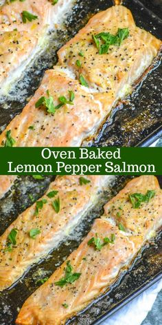 Oven Baked Lemon Pepper Salmon ~ a seasoned salmon dinner is only 20 minutes away with this delicious sheet pan recipe! An easy way to make the most delicious, this recipe makes lemon pepper buttered tender seasoned salmon quickly & easily in the oven. Easy Soup Recipes, Fish Recipes, Seafood Recipes, Cooking Recipes, Easy Salmon Recipes Oven, Baked Salmon Recipes Healthy, Simple Salmon Recipe, Fresh Salmon Recipes, Dairy Free Salmon Recipes