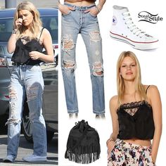 Perrie Edwards: Destroyed Jeans, Lace Cami | Steal Her Style