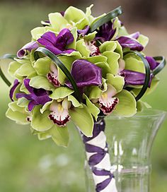 Purple Calla Lily And Green Cymbidium Orchids Bouquet Lime Green Weddings, Purple And Green Wedding, Purple Wedding Bouquets, Floral Wedding, Bouquet Wedding, Bridesmaid Bouquet, Bridesmaids, Dark Purple, Trendy Wedding