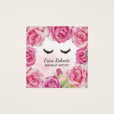 #makeupartist #businesscards - #Makeup Artist Watercolor Rose Floral Beauty Salon Square Business Card