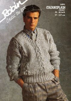 mens chunky sweater knitting pattern pdf bulky cable v neck jumper Vintage 38-46 inch chunky bulky 12ply instant Download by Hobohooks on Etsy