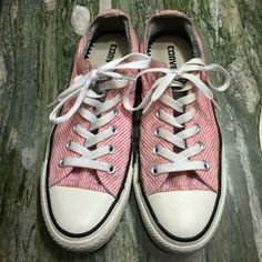 Pink & white striped converse I only worn them couple time ! Great condition ! Converse Shoes