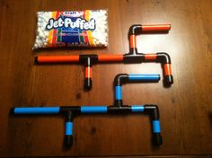 Marshmallow guns for our nephews for Christmas. PVC, paint, duct tape, and marshmallows..easy to make. Link in comments.