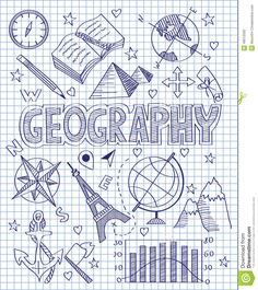 Photo about Vector illustration of Hand drawn Geography set. Illustration of direction, collection, diagram - 49512592 Decorate Notebook, Diy Notebook, Notebook Covers, Doodle Icon, Doodle Art, Project Cover Page, School Binder Covers, Sketch Note, Diy Back To School