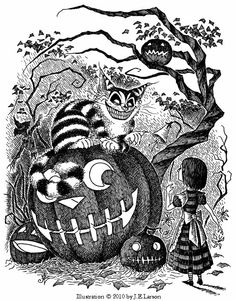 Robb Mommaerts' cute character design for Alice and theCheshire Catfrom Lewis Carroll's Alice in Wonderland. - deepintolove.com
