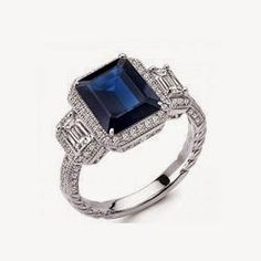 Sapphire Blue Corundum Based Three Stone Signity CZ Engagement Sterling Silver
