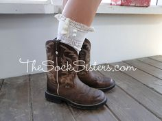 Love these lacy boot socks with cowgirl boots!