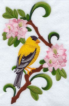 Washington Willow Goldfinch and Rhododendron Medley Machine Embroidery Quilts, Crewel Embroidery Kits, Free Machine Embroidery Designs, Beaded Embroidery, Quilting, Bird Applique, Embroidered Quilts, Quilling Patterns, Quilt Patterns