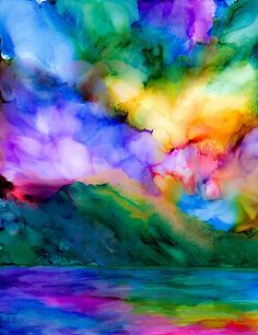 Alcohol Ink Art. Alcohol Ink Print. Abstract sunrise over vibrant green mountains and a sea reflecting the sky. Original painting was made with vibrantly colored alcohol ink and white ink moved with compressed air on you.   Print of original Alcohol ink Painting. 5x7 inches matted to 8x10 inches in an acid free white mat. Ready for your frame. Signed by the artist. Limited run of 25.  High quality fine art print. Colors may vary based on your monitor. Great gift idea for Mothers Day or any…