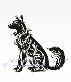 Sitting Dog Tribal Tattoo by Avestra on DeviantArt