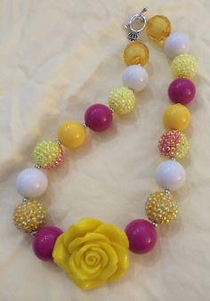 Yellow Flower Bubblegum Bead Necklace by CraftyCreationsByLB, $16.00