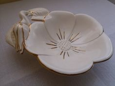 Beautiful Ceramic Candy Bowl Flower Shaped Vintage by 2Crafty4You
