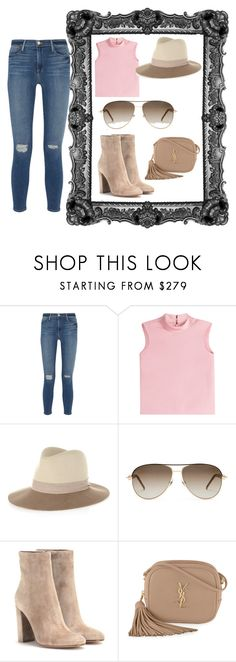 """Pink Crop Top w/Distressed Jeans"" by freespirit1177 ❤ liked on Polyvore featuring Frame, RED Valentino, rag & bone, Gucci, Gianvito Rossi and Yves Saint Laurent"