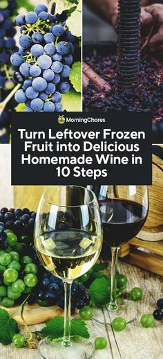 How to Make Delicious Homemade Wine from Leftover Frozen Fruit On paper, generating wines are Homemade Wine Making, Homemade Wine Recipes, Homemade Liquor, Frozen Grapes, Frozen Fruit, Fresh Fruit, Fruit Juice, Wine And Liquor, Wine And Beer